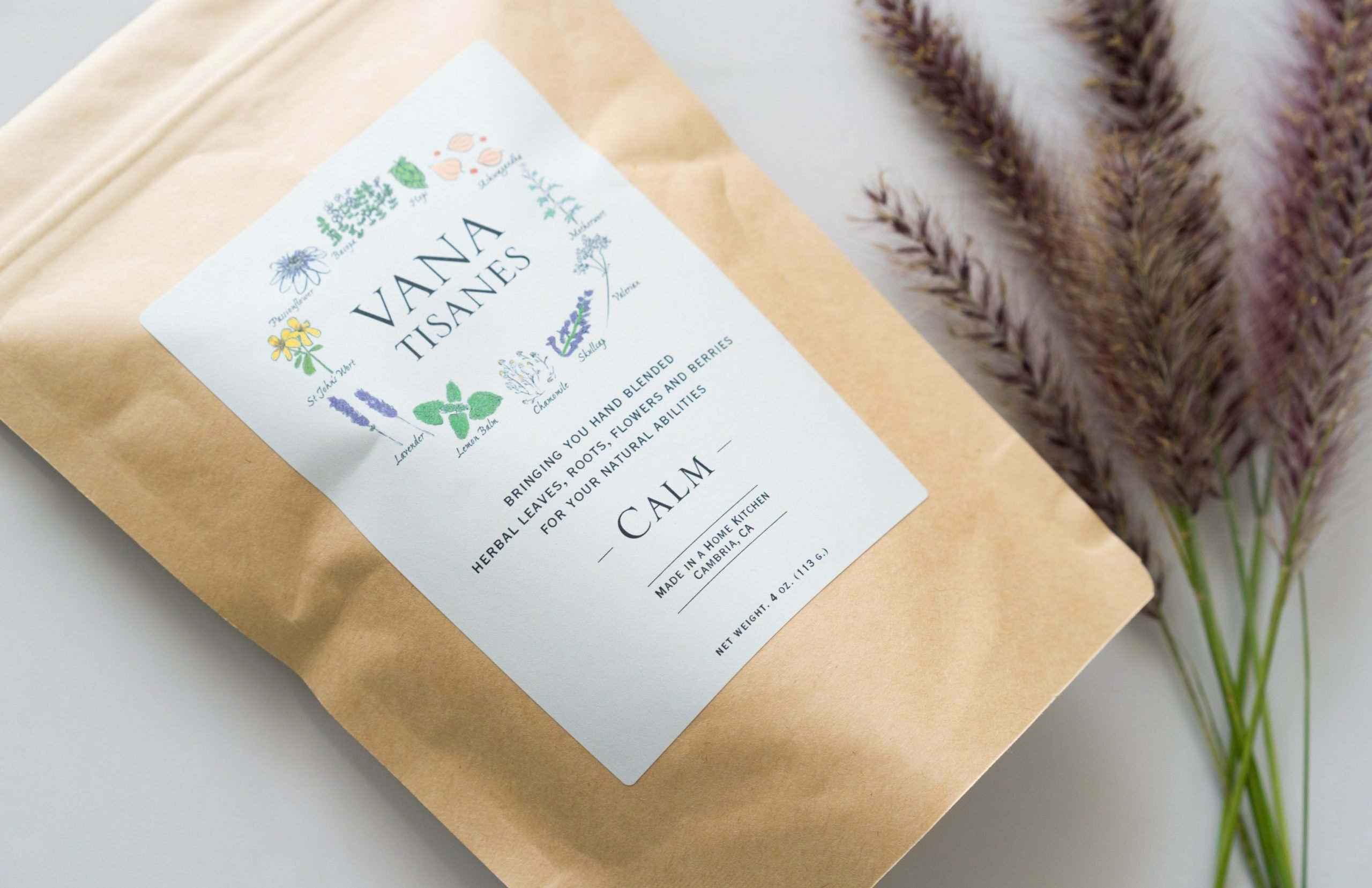 A bag of Calm, our herbal tea blend of the month