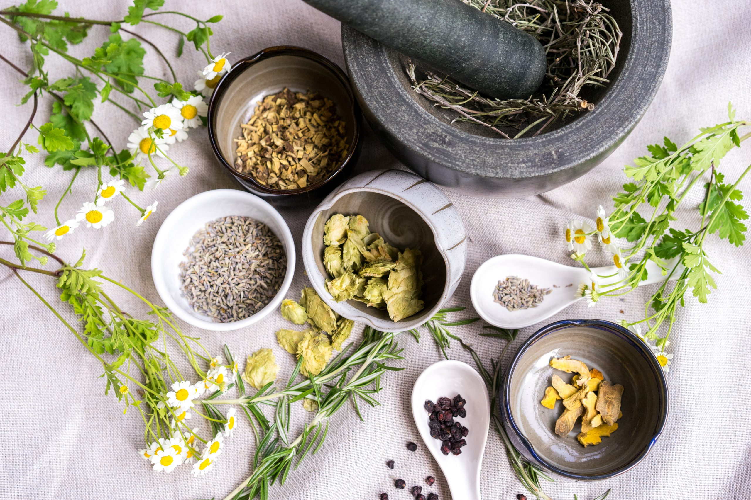 dried herbs and flowers to make tea next to a mortar and pestle